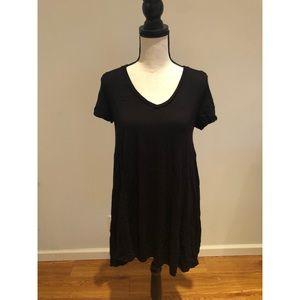 Zara Trafaluc Black V-Neck T-Shirt Dress